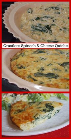 Crustless Spinach and Cheese Quiche #recipe #breakfast #brunch