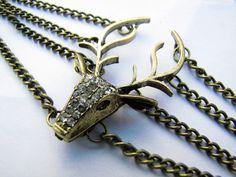 Vintage Style Antique Bronze Deer Antler Pendant Women Girl Chain Cuff Bracelet  438A. $7.00, via Etsy.