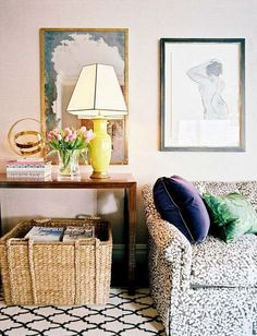 Layering. Love the basket under console next to couch