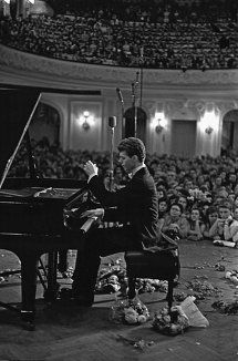 On April 13, 1958 in Moscow, Russia, USSR the International Tchaikovsky Competition...held once every four years, started off brilliantly...with an unlikely winner – American pianist Van Cliburn from Texas. (image & text courtesy: TheMoscowNews.com)