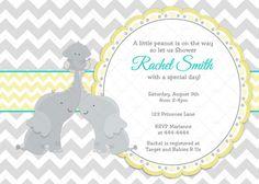 Baby Shower Invitation Yellow Turquoise por CuddleBugInvitations