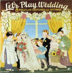 Let's Play Wedding  paper doll book  1938  Artist	The Baileys  Manufacturer	The Saalfield Publishing Co.  Material	paper | printed  Origin	Akron, OH  Style	uncut
