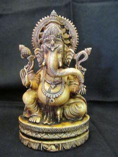 Vintage Resin Fox Bone Hindu Tribal Elephant God Ganesh Statue Figurine 2411