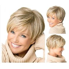 Medusa hair products: Beautiful young cut Short pixie per .- Medusa hair products: Beautiful young cut Short pixie wigs for women Straight style Synthetic Blonde wig with bangs - Wigs With Bangs, Hairstyles With Bangs, Straight Hairstyles, Hair Bangs, Natural Hairstyles, Crazy Hairstyles, Black Hairstyles, Pixie Hairstyles, Hairstyles 2016