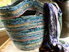 Clothesline Tote Bag  Repurposed Coiled Rope Basket Pastel