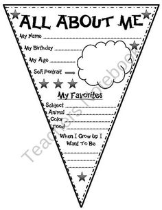 All About Me Pennant from Second Grade Superstars on TeachersNotebook.com (1 page)