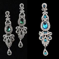 Nieuwe Mode Luxe Verzilverd Big Black Crystal Lange Oorbellen Bruiloft Drop Vrouwen Accessoires Oorbellen
