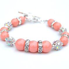Coral Pink Pearl Rhinestone Bracelet Bridesmaid by AMIdesigns, $24.00