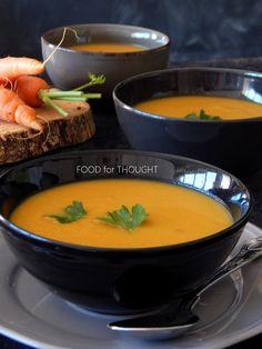 Καροτόσουπα βελουτέ με σελινόριζα και μπαχαρικά | Food for thought | Bloglovin' Cooking Time, Cooking Recipes, Celeriac, Carrot Soup, Soup And Sandwich, Desert Recipes, Food For Thought, Thai Red Curry, Carrots