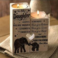 MUM To Daughter Pair Candle Holder 2020 XMAS Birthday Graduation Wedding Gift #candle #holders #accessories (ebay link) My Daughter Quotes, To My Daughter, Graduation Gifts For Her, Candle Holders Wedding, Candle Spells, Always Remember You, Can Lights, Votive Candles, Wedding Gifts