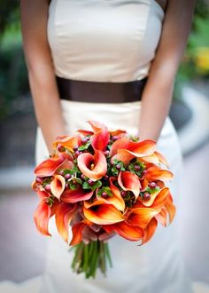 Burgundy Orange Bouquet Fall Wedding Flowers Photos & Pictures - WeddingWire.com