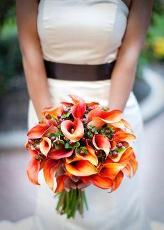 Burgundy Orange Bouquet Fall Wedding Flowers Photos & Pictures - WeddingWire.com