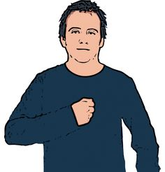Mine - British Sign Language Description: Closed hand held to chest. Definition: Belonging to me, done by me, or having to do with me.