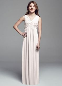 Comfortable, stylish and chic, your junior bridesmaids will lookamazing in thislong mesh dress!  Sleeveless mesh bodice with ruched waist band.  Easy to move in, long mesh skirt.  Fully lined. Back zip. Imported polyester. Dry clean only.