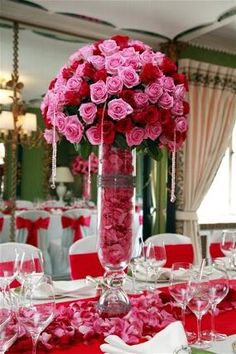Tall red and pink wedding centerpiece - Rolling Meadows Florist