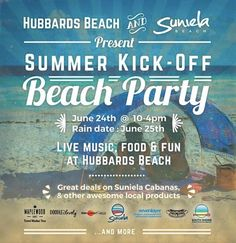 SATURDAY  Come join us for a fun beach day to celebrate summer!!  Live music & food stands including Beach Buns Grill! Great deals on Suniela Beach cabanas  Sueno swimwear South Shore Board Sports & Rentals  Maplewood Games travel washer toss  Sevenlayer - designer accessories from repurposed skateboards  DOODLELovely  DOT art creations  and more fabulous local entrepreneurs!  Enjoy a day on the sand and get your hands on the hottest summer gear