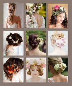 Opções lindas de penteado com flores.