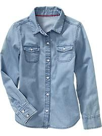 Girls Light-Wash Chambray Shirts