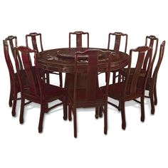 60in Rosewood Flower Pearl Inlay Design Round Dining Table with 10 Chairs. Floral design mother-of-pearl decoration is hand-inlaid throughout the entire table. Dark cherry finish. Oriental Rosewood dining set.