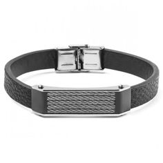 Men's Black Leather And Stainless Steel Cable Inlayed ID Plate #Bracelet  https://www.hazrati.com/men-s-black-leather-and-stainless-steel-cable-inlayed-id-plate-bracelet-45254.html