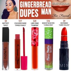 (@allintheblush) on Instagram: GINGERBREAD MAN DUPES from Too Faced Cosmetics