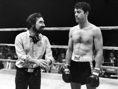 "Martin Scorsese & Robert De Niro on the set of ""Raging Bull"", 1980"