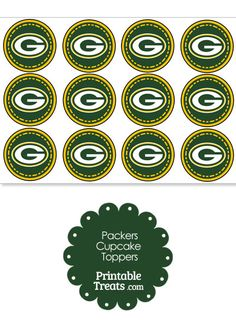 Are the Packers your favorite NFL team? If so, you'll love these printable Packers logo cupcake toppers you can print and pop on top of cupcakes and party food picks. These printable Packers Bottle Cap Crafts, Bottle Caps, Football Cupcake Cakes, Senior Week, Vinyl Sticker Sheets, Food Picks, Bottle Cap Images, Baby Party, Diy Christmas Ornaments