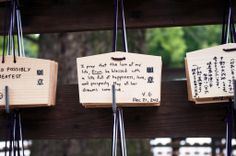 Visit the Meiji Shrine in Tokyo and write your prayers on an Ema tablet. Tokyo Travel Guide, Meiji Shrine, Japan Holidays, Visit Tokyo, Hakone, Osaka, Prayers, Place Card Holders, Vacation