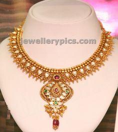 GRT Kundan work gold necklace - Latest Jewellery Designs