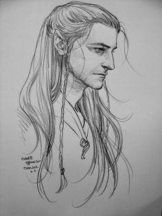 Finrod Felagund (The Silmarillion - J.R.R. Tolkien) | Random sketch of Richard Armitage as elf by the talented hobbit0125.tumblr.com | I like to think to him as Finrod, son of Finarfin