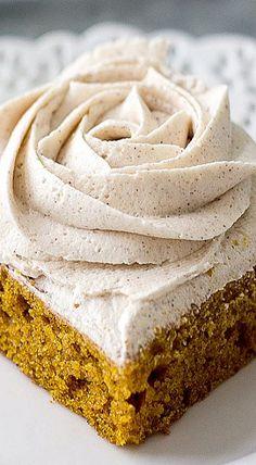 Pumpkin Squares with Cinnamon Vanilla Buttercream Frosting ❊ Recipe Using Pumpkin, Pumpkin Recipes, Cookie Recipes, Fall Recipes, Vanilla Buttercream Frosting, Cupcake Frosting, Pumpkin Squares, Baked Pumpkin, Pumpkin Dessert