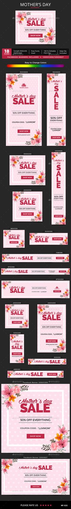 Mother's Day Banners — Photoshop PSD #coupon #google adwords • Available here → https://graphicriver.net/item/mothers-day-banners/15712779?ref=pxcr
