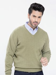Olive Green Textured V-Neck Sweater