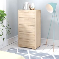 Features: Product Type: Tallboy Material: Manufactured Wood Material Details: Wood Species: Colour: Sonoma oak High Gloss: No Mirrored Finish: No Small Furniture, Furniture Making, Home Furniture, Furniture Sets, Wood Drawers, 5 Drawer Chest, Chest Of Drawers, Kids Storage, Antique Furniture