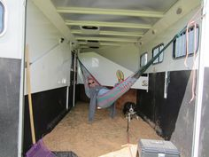 Hammocks in the trailer on a show day. How come I haven't heard of this until now? I so need to do this on show days.