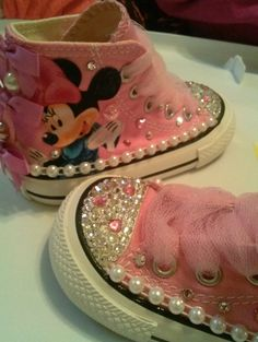 Custom bling sneaker without the Minnie Baby Girl Shoes, My Baby Girl, Girls Shoes, Baby Bling, Cute Kids, Cute Babies, Baby Kids, Bling Shoes, Bedazzled Shoes