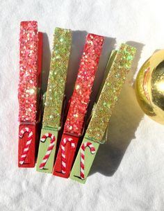 CANDY CANE CLOTHESPINS glitter red and green magnet Christmas decoration by SugarAndPaint on Etsy
