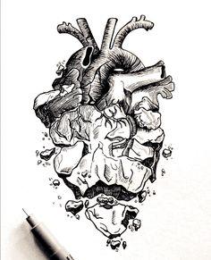 Dark Art Drawings, Pencil Art Drawings, Cool Drawings, Drawing With Pen, Tattoo Sketches, Tattoo Drawings, Art Sketches, Stylo Art, Herz Tattoo