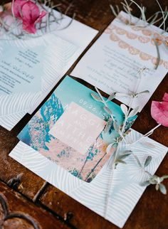 This couple took inspiration from their ceremony location with tropical stationery adorned with a modern palm tree design.