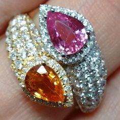 #ring #bague #gems #gemstones #youandme #toietmoi #gold #whitegold #youandmering #sapphire #saphir #orange #pink #rose #orangesapphire #saphirorange #pinksapphire #saphirrose