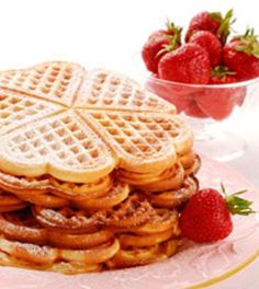 These waffles are delicious with or without the heart shaped griddle – strawberry puree lowers the fat content of the waffle and adds a punch of flavor. For extra love, serve with fresh strawberries … Strawberry Waffles, Strawberry Puree, Gluten Free Flour, Dairy Free, Better Batter, Gluten Free Breakfasts, Flour Recipes, Breakfast Recipes, Breakfast Club