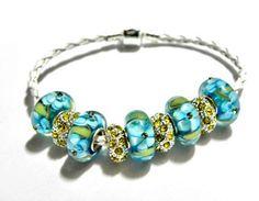 european beads leather bracelet lampwork beads yellow aqua blue  | egrobeck - Jewelry on ArtFire