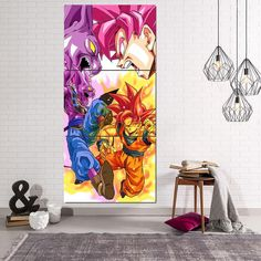 DBZ Goku Super Saiyan Rose VS God Beerus 3Pc Canvas Print  #DBZ #Goku #SuperSaiyan #Rose #VS #God #Beerus #3Pc #Canvas #Print