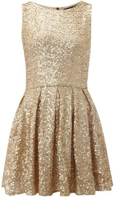 Tfnc Gold All Over Fit and Flare Sequin Dress << I want this for the winter formal!!