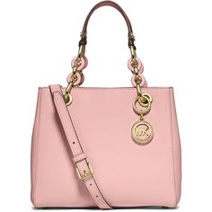 MICHAEL Michael Kors Cynthia Small North-South Satchel Bag (36760 RSD) ❤ liked on Polyvore featuring bags, handbags, blossom, tote purses, pink purse, satchel handbags, zippered tote bag and tote handbags