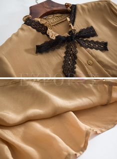 Shop for high quality Khaki Fashion Stand Collar Splicing Blouse online at cheap prices and discover fashion at Ezpopsy.com