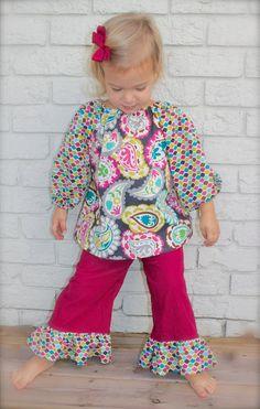 toddler girls PEASANT TOP ruffle PANT set sizes by wrententen, $50.00
