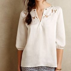 Anthropologie Cooper & Ella Cut Flower Pesant Top Elegant & very stylish top by Ella & Cooper. Size XS. Excellent NWOT condition. Perfect for Spring. Anthropologie Tops Blouses