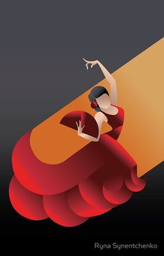 Art Deco styled Spain Flamenco dancer