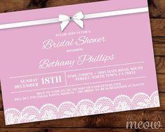 Pink Lingerie Shower Invitations Lace Bow Diamante Invite